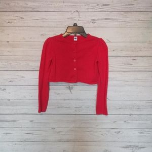 Janie And Jack Girls Cropped Sweater Size 7 Red